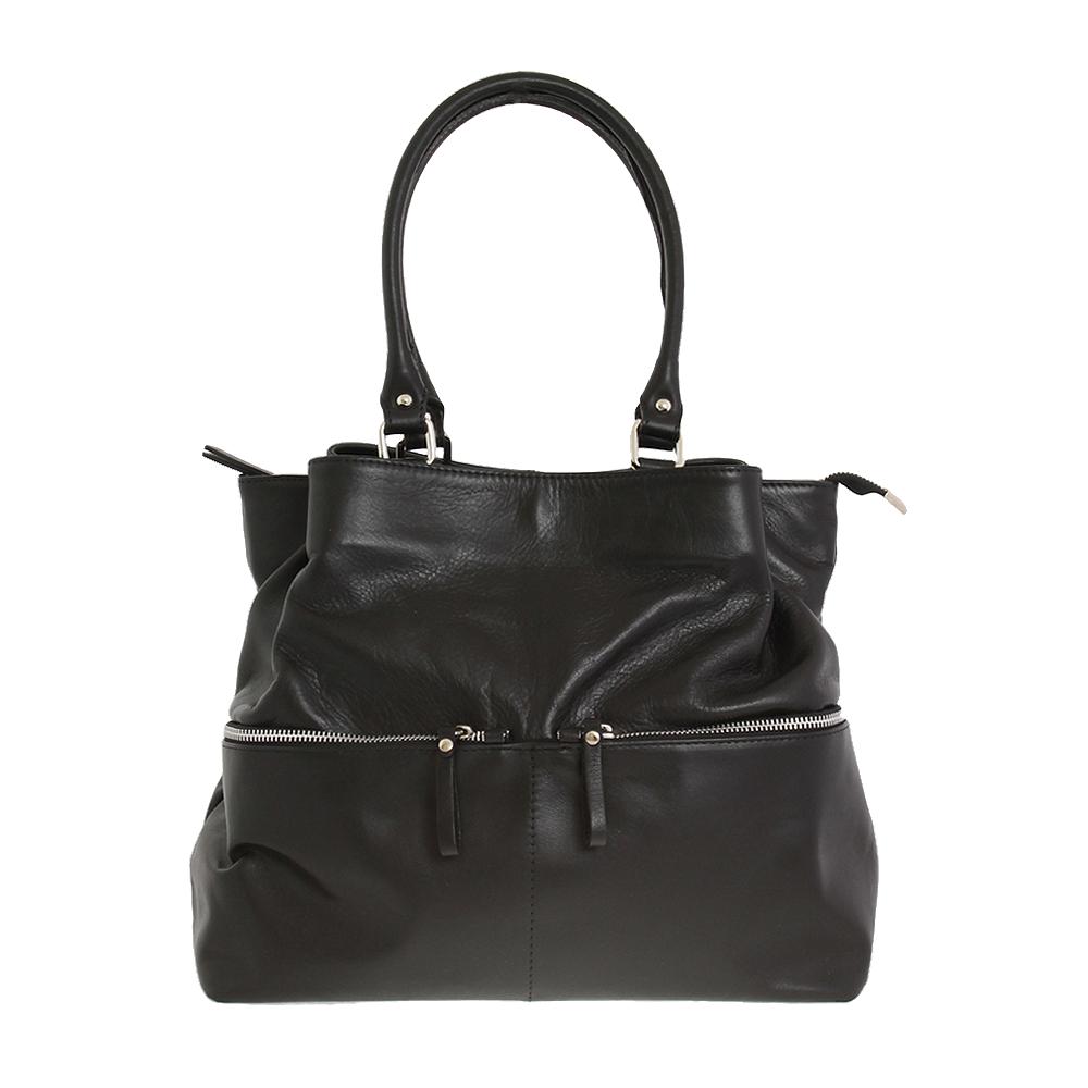 Italská kabelka Ines magnifica Černá Kůže