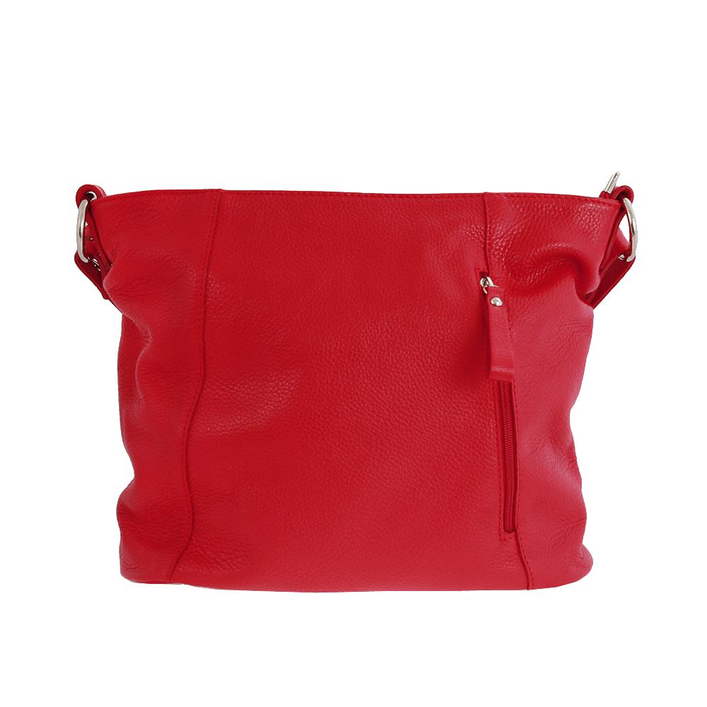 Italská kabelka Akadia rosso Červená Kůže