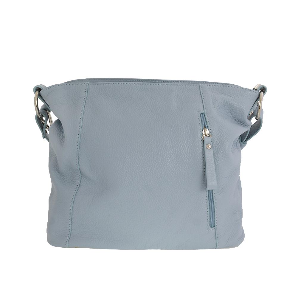 Italská kabelka Akadia blue světlemodrá Kůže