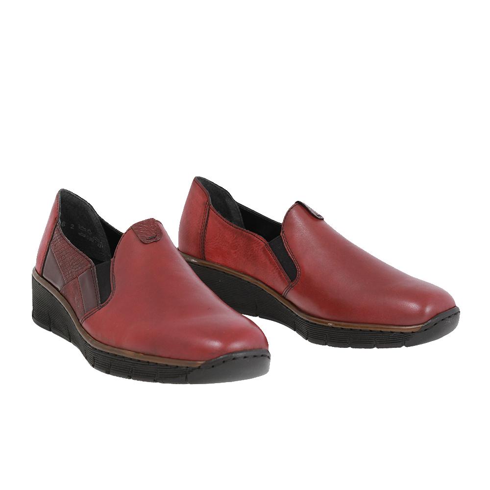 Dámské boty Rieker 53754-35 Červená kůže/syntetika