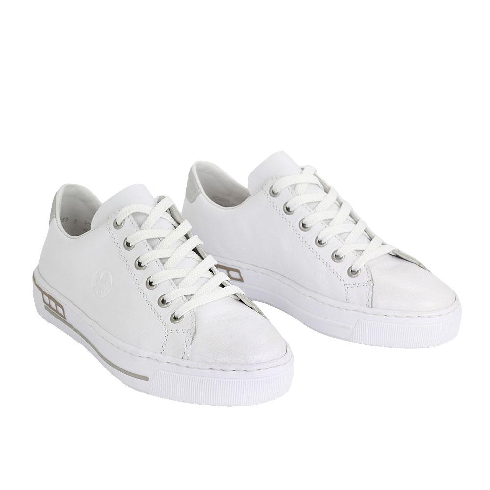 Dámské boty Rieker L88W1-80 Bílá kůže/syntetika