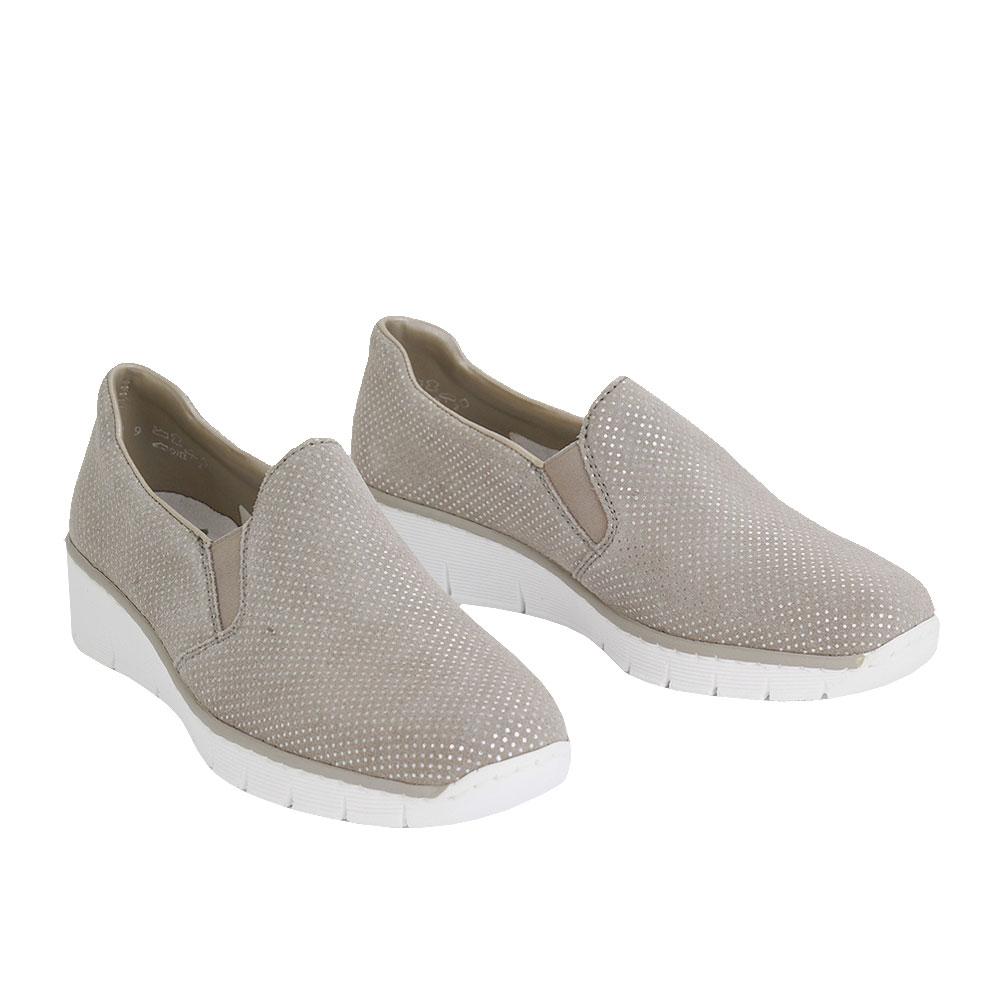 Dámské boty Rieker 537-66-41 Béžovošedá kůže/syntetika