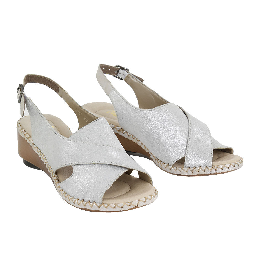 Dámské boty Rieker 66170-90 stříbrná kůže/syntetika
